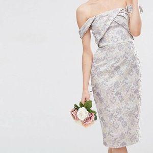 ASOS DESIGN Off The Shoulder Jacquard Dress